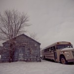 Shed and school bus